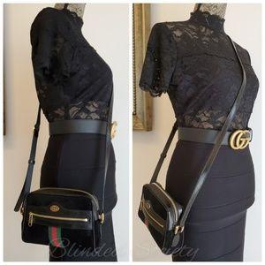 Gucci Ophidia Mini Black Suede Web Crossbody Bag
